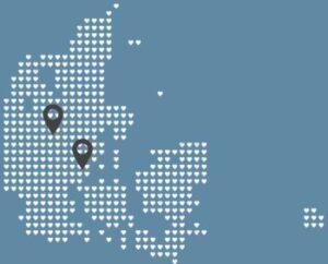 kort over klinikker psykolog Vejle og Nørre Snede